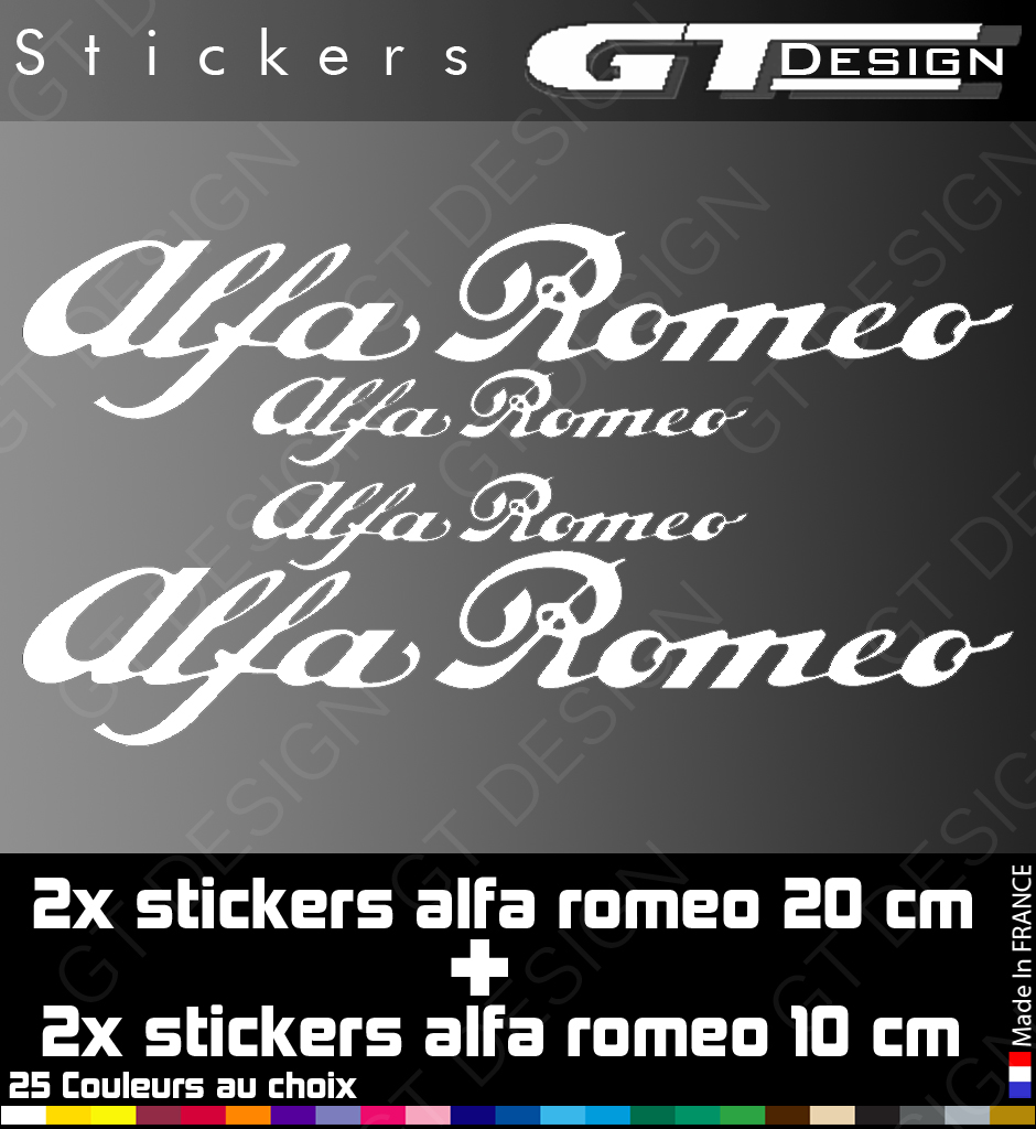 sticker autocollant alfa romeo lot de 4 alr002 mito 147 159 156 giulietta ebay. Black Bedroom Furniture Sets. Home Design Ideas