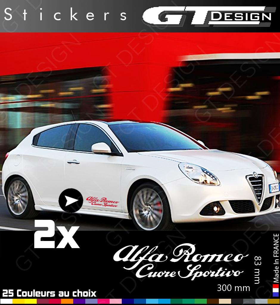 sticker alfa romeo cuore sportivo lot de 2 alr003 giulietta mito 147 156 ebay. Black Bedroom Furniture Sets. Home Design Ideas