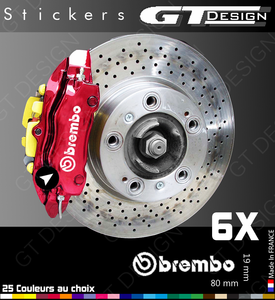 sticker autocollant brembo pour etriers de freins ou autre lot de 6 brm001 ebay. Black Bedroom Furniture Sets. Home Design Ideas