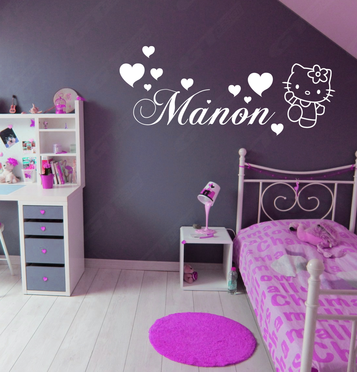 sticker mural geant hello kitty prenom personalise decoration chambre kitt006b ebay. Black Bedroom Furniture Sets. Home Design Ideas