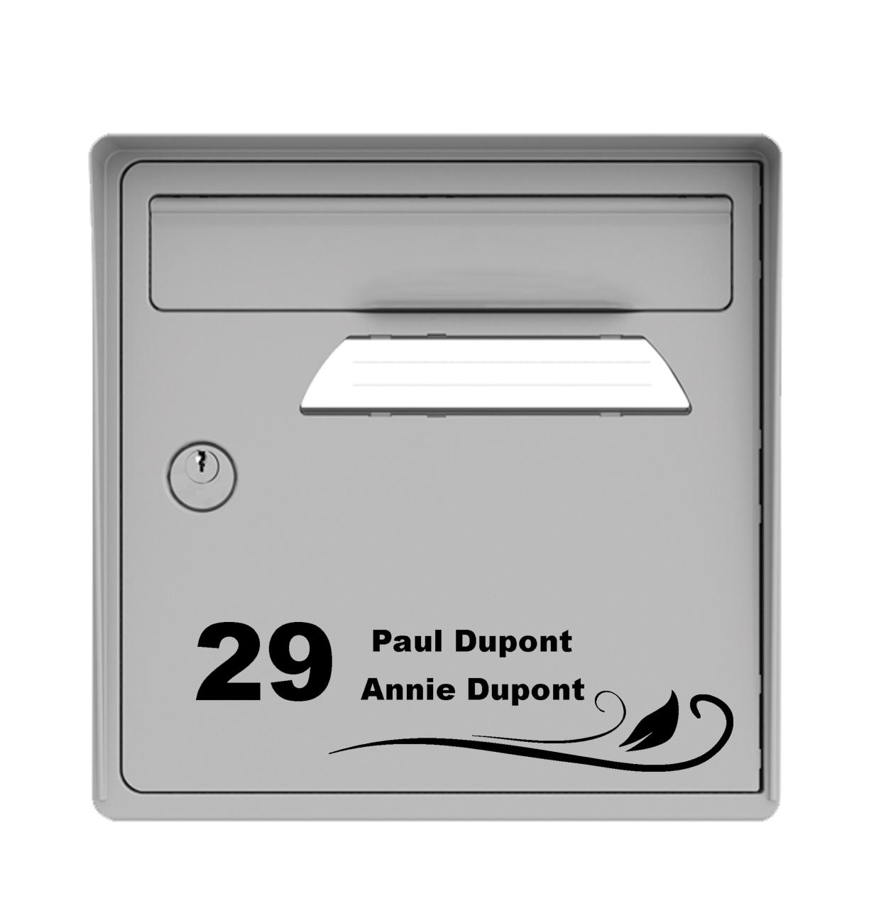 sticker de d coratif de boite aux lettres avec 2 noms pr noms ainsi que le num ro de rue. Black Bedroom Furniture Sets. Home Design Ideas